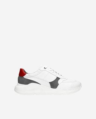 Bielosivé pánske botasky z velúrovej a lícovej kože 10079-79