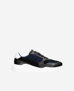 Czarno-granatowe sneakersy męskie z fantazyjną białą podeszwą 10079-71