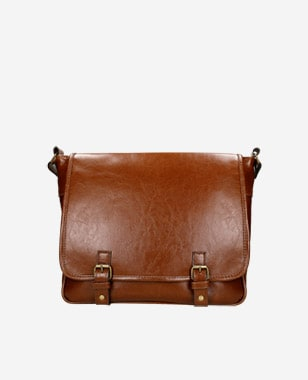 Hnedá pánska kožená taška s lesklým efektom 80145-52