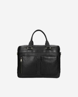 Czarna skórzana torba męska z dodatkowymi zewnętrznymi kieszeniami 80141-51