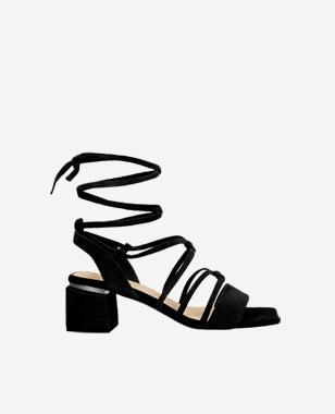 Czarne sandały damskie na obcasie z wysokimi wiązaniami 76077-61