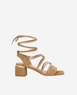 Beżowe wiązane sandały damskie na obcasie 76077-64