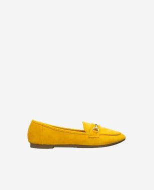 WJS żółte półbuty damskie z metalowym zdobieniem  WJS70002-68