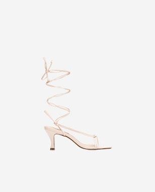 WJS beżowe sandały damskie na szpilce WJS74027-54