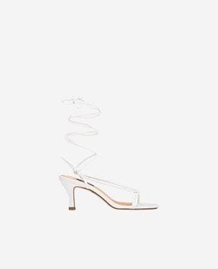 WJS białe sandały damskie z cienkimi paseczkami i wiązaniem WJS74027-59
