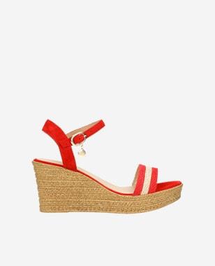 Czerwono-beżowe sandały damskie na koturnie 76022-85