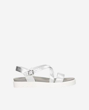 Srebrne sandały damskie na białej podeszwie 76014-59