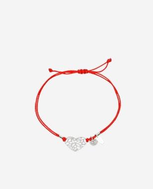 Czerwona bransoletka damska z ażurowym sercem 98907-85
