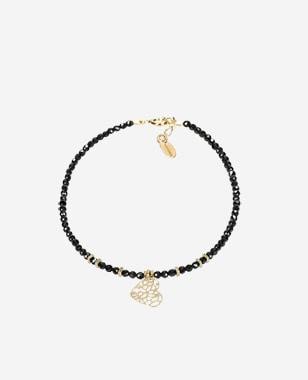 Czarna bransoletka damska ze złotym ażurowym sercem 98905-89