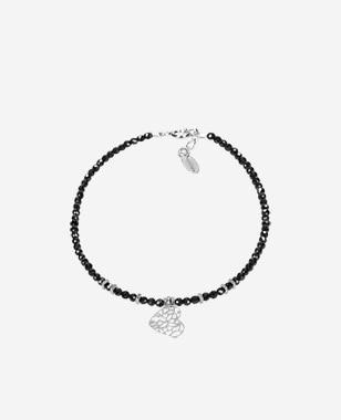 Czarna bransoletka damska z elementami srebra 98905-80