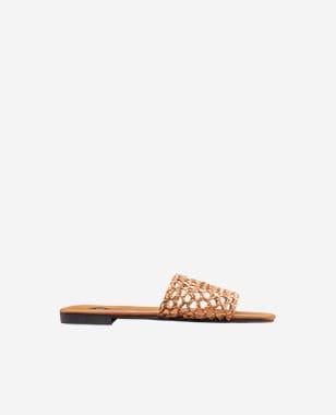 WJS brązowe klapki damskie na płaskiej podeszwie WJS71018-43
