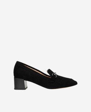 Czarne eleganckie mokasyny damskie na obcasie 46071-61