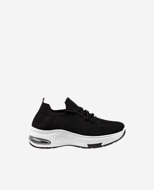 WJS czarne sneakersy damskie z kontrastową podeszwą WJS64036-11