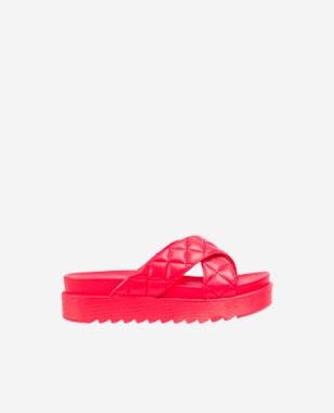 WJS czerwone klapki damskie z pikowanymi paskami WJS71028-55