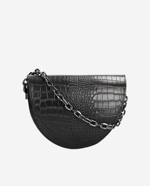 Czarna torebka damska z tłoczeniem  80206-51