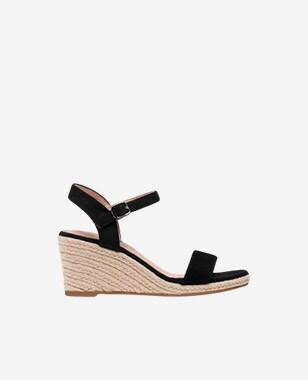 WJS czarne sandały damskie na koturnie WJS74034-61