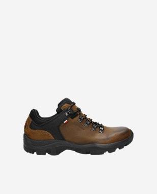 Hnedé pánske botasky na treking z kože crazy horse 9377-82
