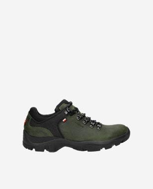 Kožené trekingové pánske botasky v zelenej farbe 9377-87