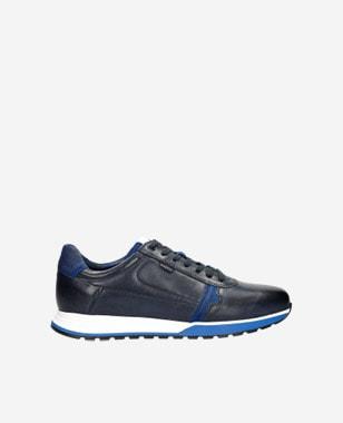Kožené tenisky pánské v granátové a modré barvě 10021-75