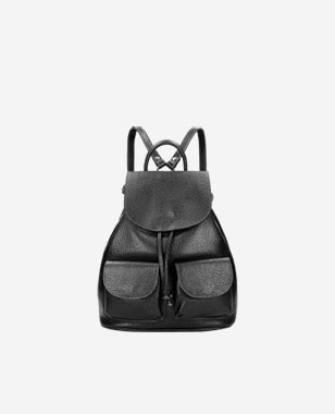 Czarny miejski plecak damski ze skóry licowej 80220-51