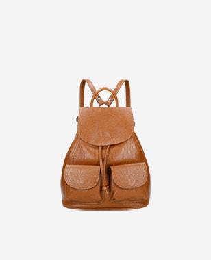 Jasnobrązowy skórzany damski plecak worek 80220-53