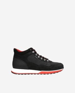 Czarne sneakersy męskie z czerwonymi elementami 24043-81