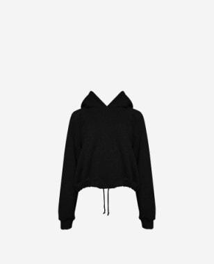 CHIARA czarna bluza damska z kapturem i logo z tyłu K250011-11