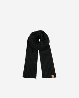 Czarny szalik damski z wełny i akrylu 96014-11