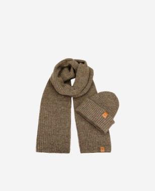 Komplet na zimę czapka + szalik w kolorze brązowym 96012-13