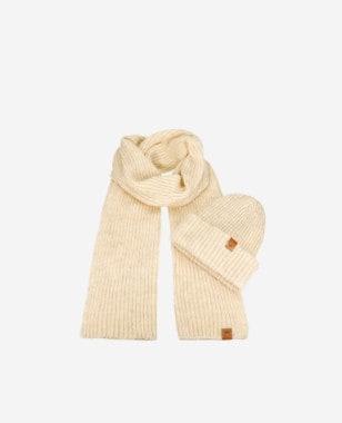 Beżowy komplet na zimę czapka + szalik 96012-14