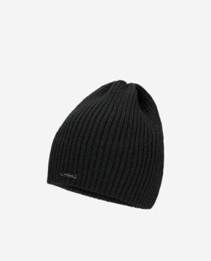 Czarna czapka męska w prążki 96016-11