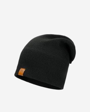 Czarna czapka damska z domieszką wełny 96011-11