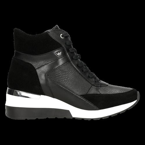Czarne Damskie Jesienne Sneakersy O Oryginalnym Designie